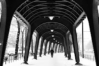 under the bridge black white street photography Berlin