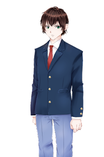 不機嫌な紺色のブレザー制服の学生の立ち絵フリー素材
