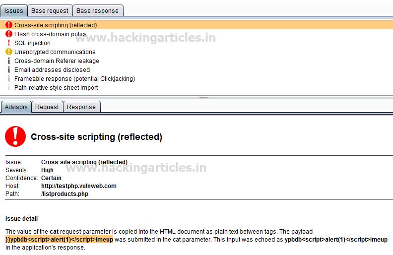 Vulnerability Analysis in Web Application using Burp Scanner