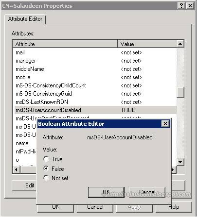 Enable msDS-UserAccountDisabled attribute