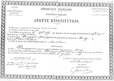 Arrêté d'Institution Républicain de François Bourgogne, 5 juillet 1851 (collection musée-copie AD71)
