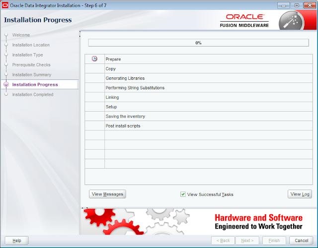 ODI 12c Installer Beginning of Installation at 0 percent