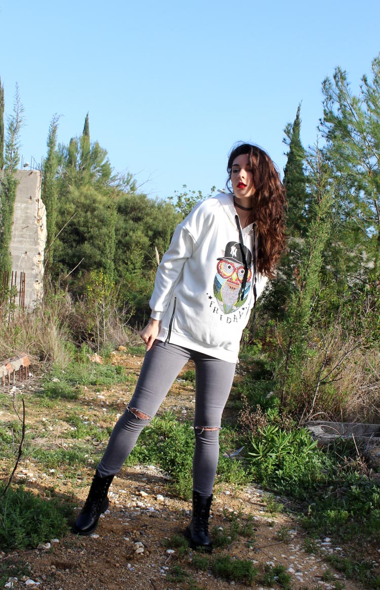 boylymia, hoodie, owl, owl pattern, gray jeans, ripped jeans, combat boots