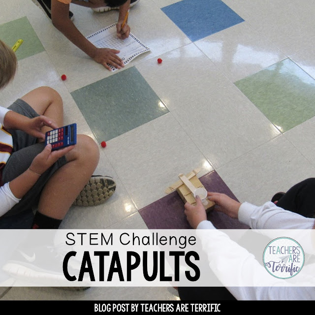 STEM Challenge: Testing catapults - students experiment with different angles and then compete with their ultimate catapult designs.