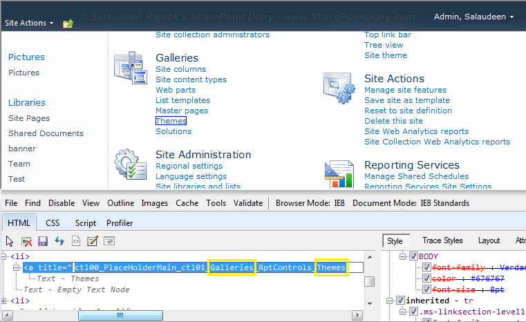 get customactionid using IE Developer toolbar, Firebug