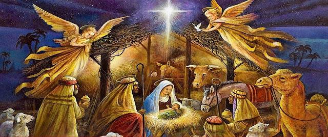 வாள் நட்சத்திரம், மேய்ப்பர்கள், தேவதைகள் சூழ இயேசு கிறிஸ்து மாட்டுத் தொழுவத்தில் பிறந்திருக்கும் படம்