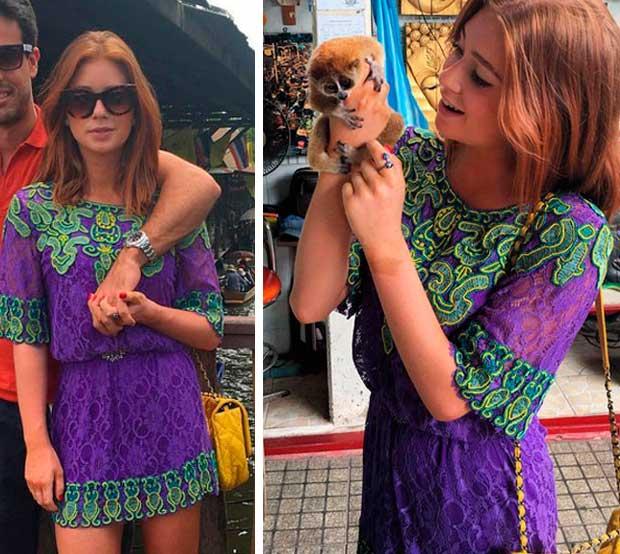 Look da Marina Ruy Barbosa na Tailândia, viagem com namorado Xandinho Negrão, vestido roxo