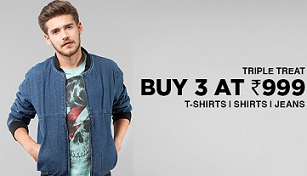 Buy any 3 Men's Clothing just for Rs.999 Only @ Jabong