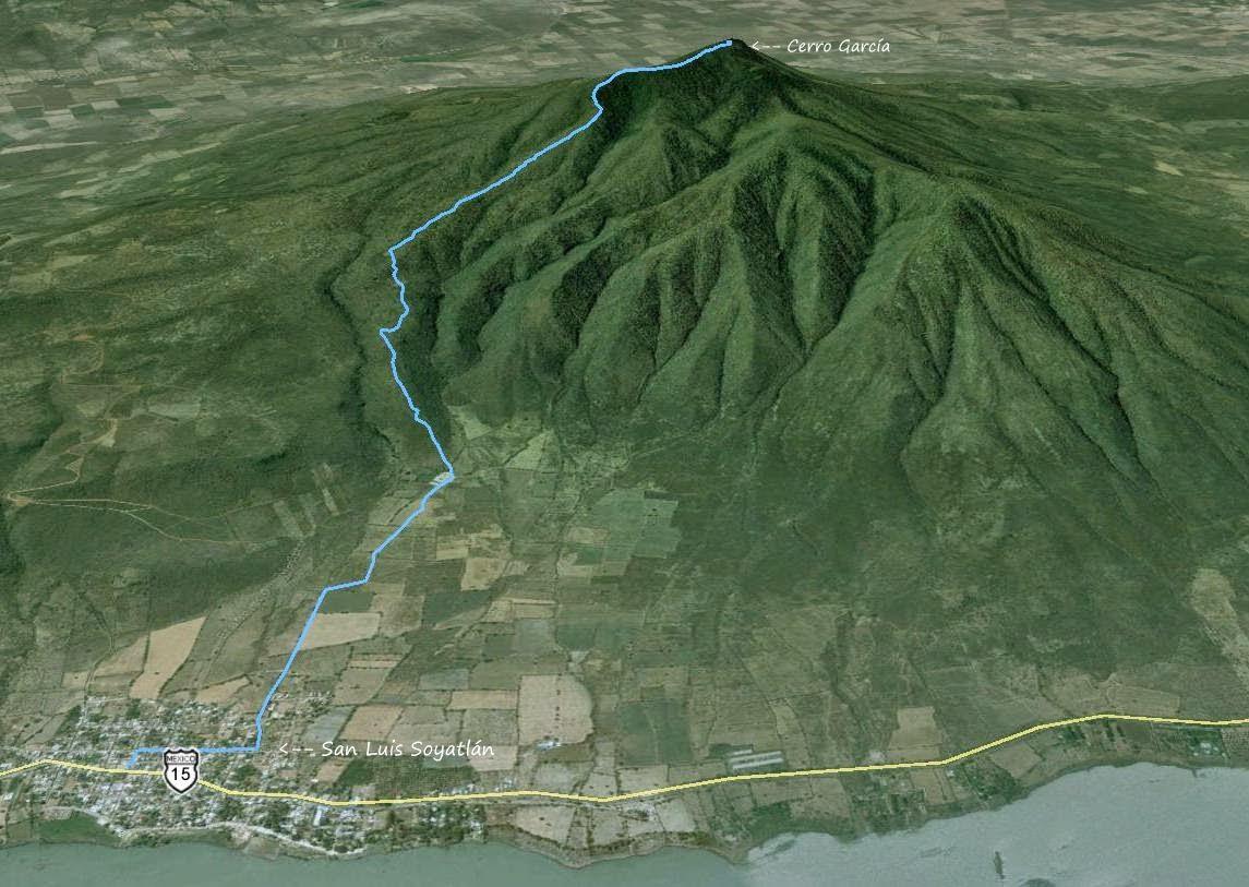 Ruta de descenso del Cerro García a San Luis Soyatlán