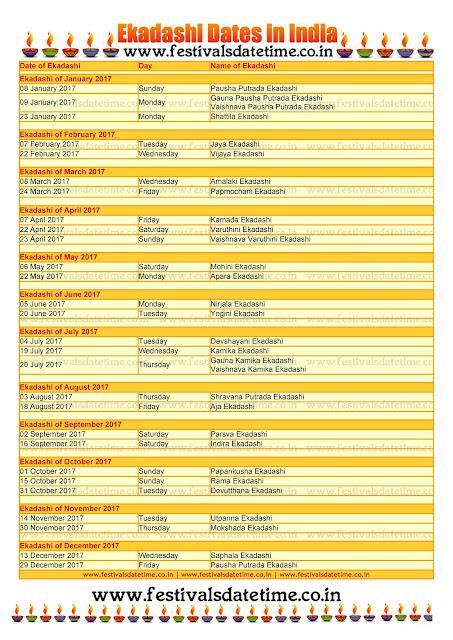 2017 Ekadashi Dates JPG File For Download