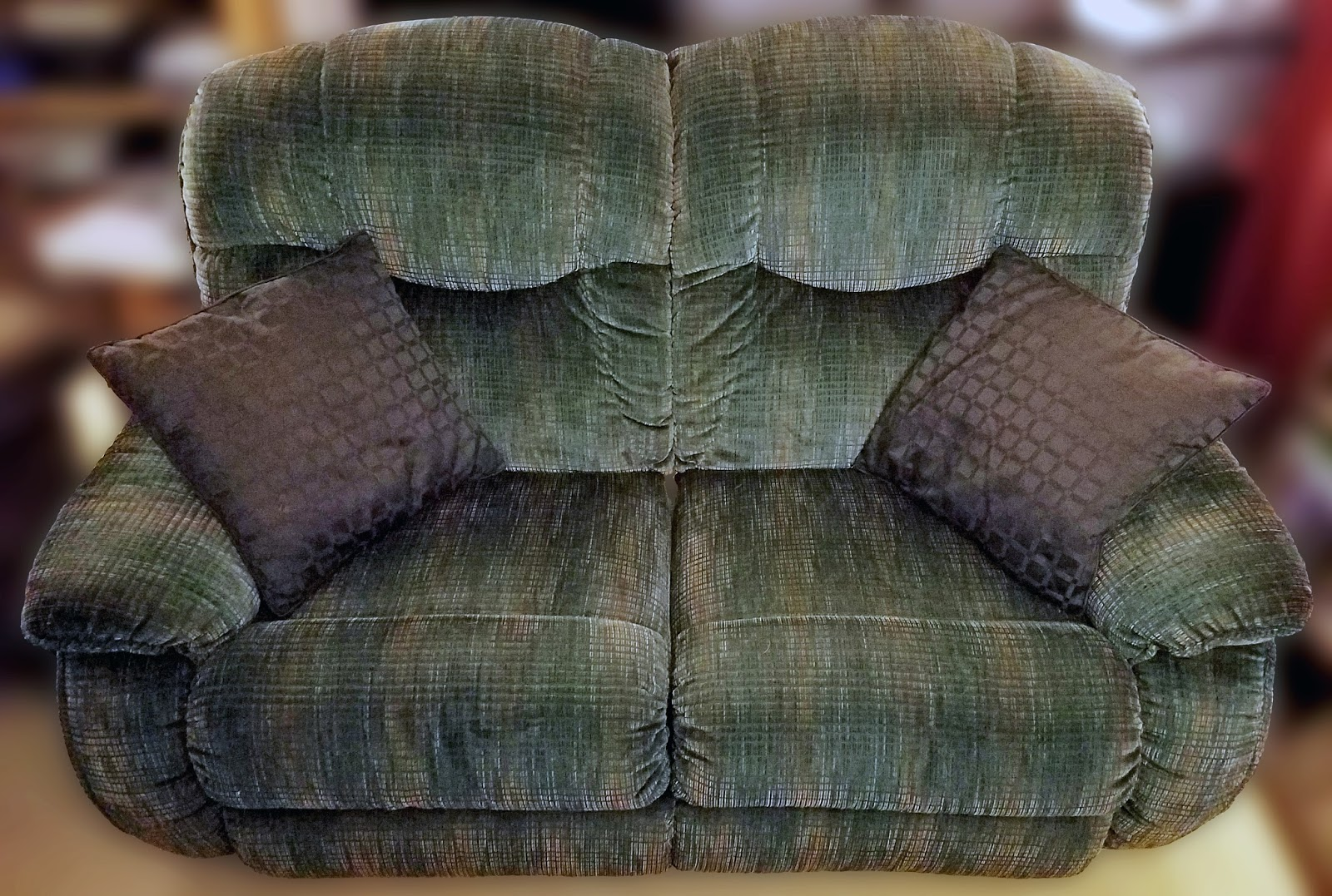 FOR SALE Barely used La-Z-Boy reclining sofa loveseat. Both seats recline inidually via wooden handles on the sides and it is a  space-saver  style ... : used lazy boy recliner - islam-shia.org