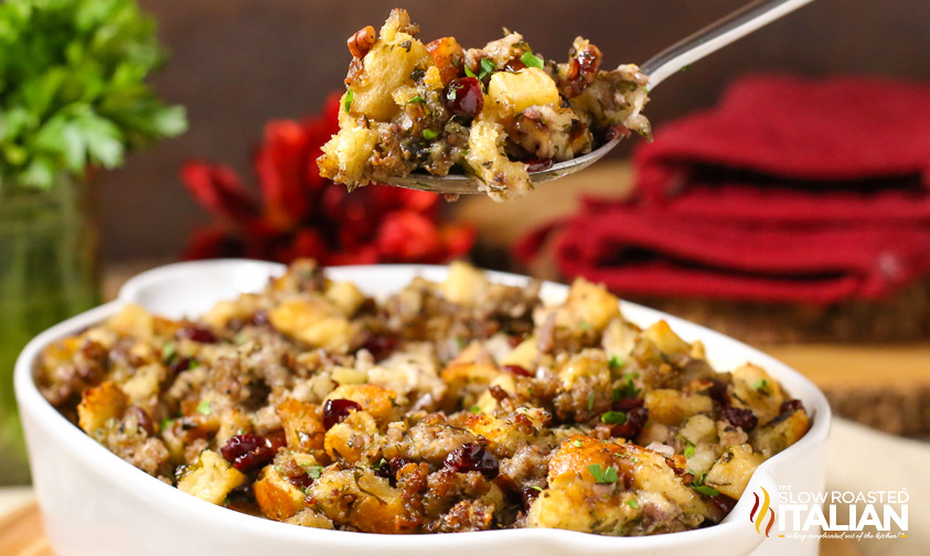 http://www.theslowroasteditalian.com/2014/11/sausage-cranberry-and-apple-stuffing.html