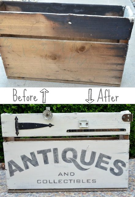 before and after, how to upcycle an old wooden box