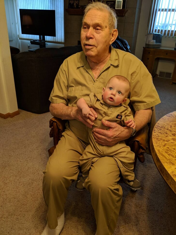 25 Heart-Melting Pictures That Made Even The Toughest Of Us Cry - 'My mother-in-law made my son a pair of coveralls from one of his grandpa's old ones.'