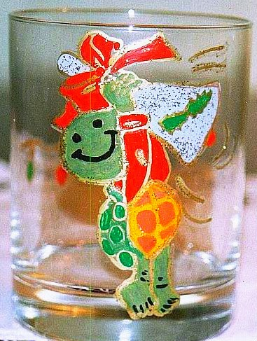 hand painted glass in Christmas theme turtle ringing in the New Year