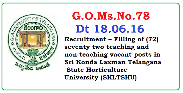G.O.Ms.No.78 Public Services – Agriculture & Cooperation Department - Recruitment – Filling of (72) seventy two teaching and non-teaching vacant posts in Sri Konda Laxman Telangana State Horticulture University (SKLTSHU), Hyderabad through the Telangana State Public Service Commission, Hyderabad - Orders – Issued. /2016/06/gomsno78-recruitment-of-72-teaching-and-nonteaching-vacant-posts-in-sri-konda-laxman-telangana-state-horticulture-university-SKLTSHU.html
