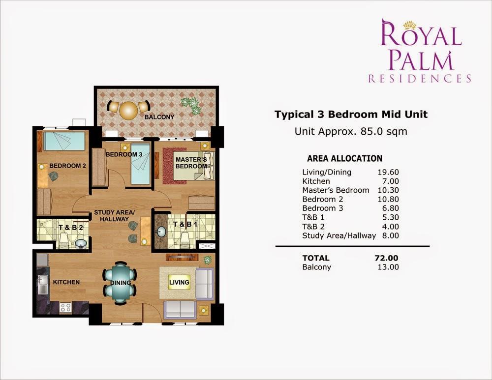Royal Plam Residences - 3 Bedroom Unit 85.00 sqm.
