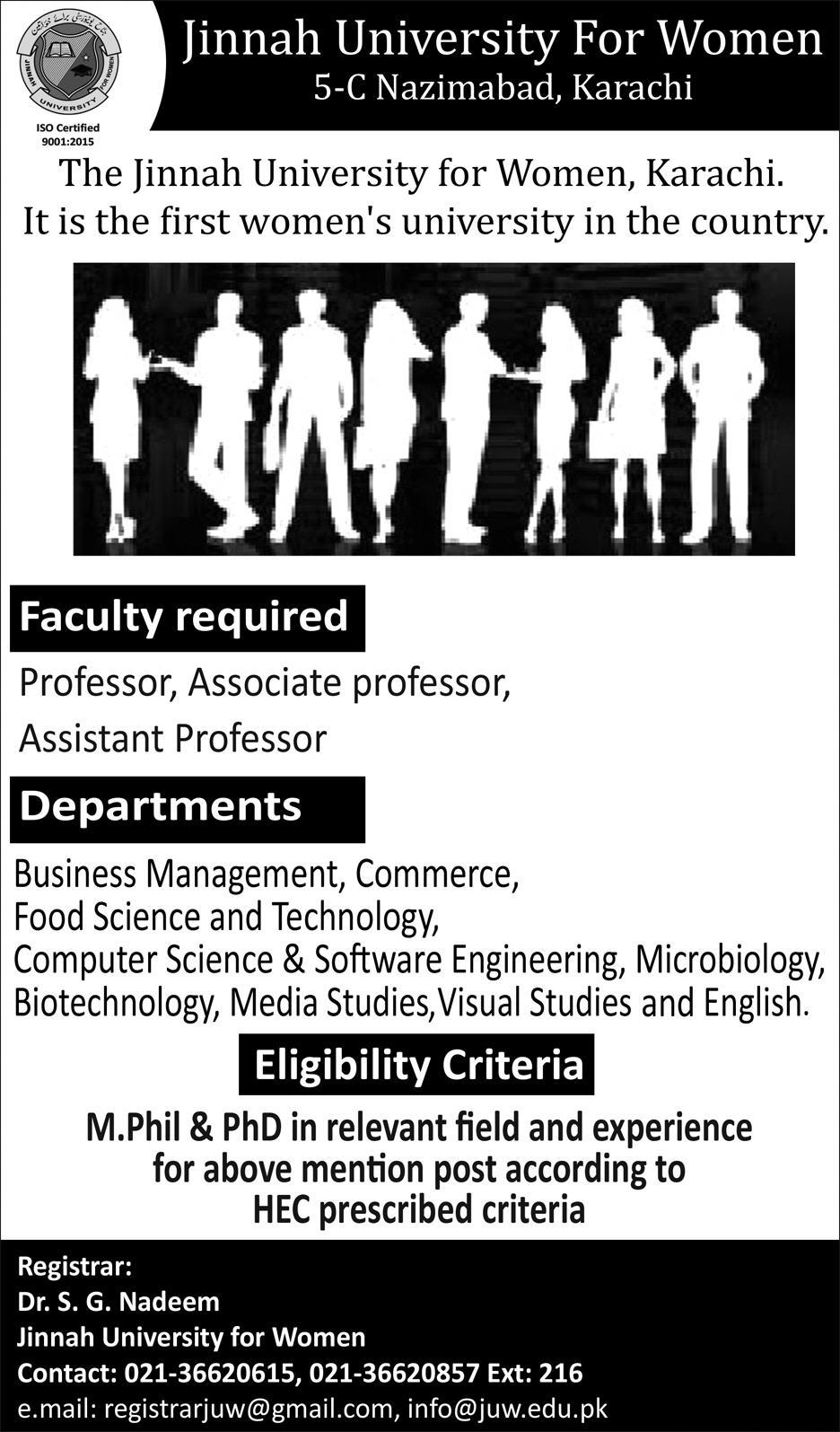 Jobs Vacancies In Jinnah University For Women 08 January 2019