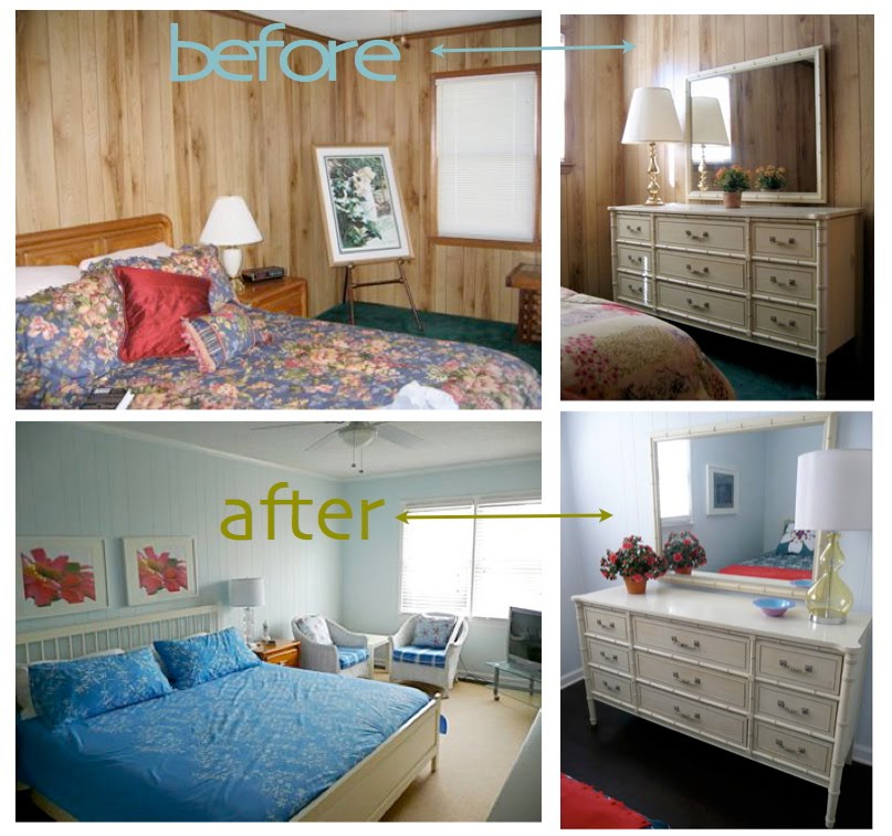 Painted Wood Paneling, Before/after