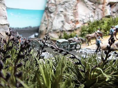 Miniature New Zealand flax plants in a diorama.