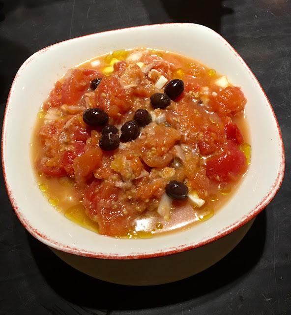 Mojete Murciano: Tomatoes, Black Olives, Tuna, Eggs and Cod Fish