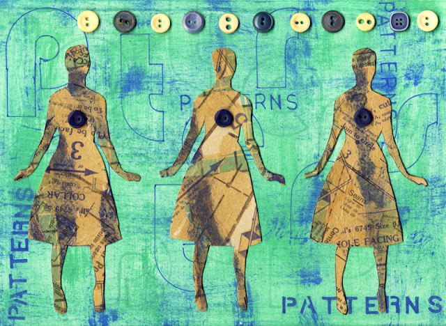 Collage made with buttons and sewing patterns