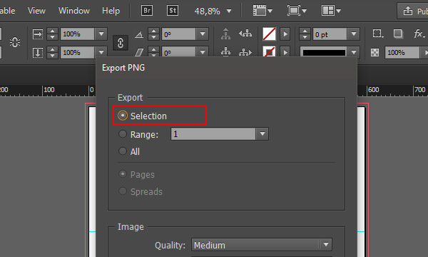 Export selected object as JPEG or PNG from InDesign