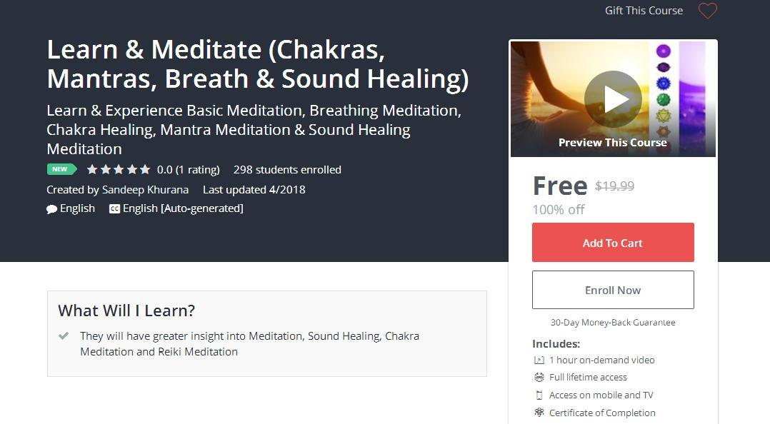 Learn & Meditate (Chakras, Mantras, Breath & Sound Healing) | Couponis