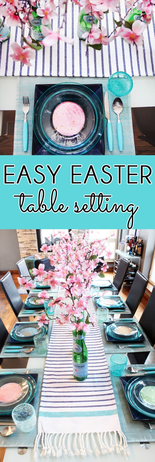 Mix indoor dish, patio dishes, and scrapbook paper for an easy Easter tablescape