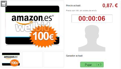PUJA TARJETA AMAZON 100 EUROS