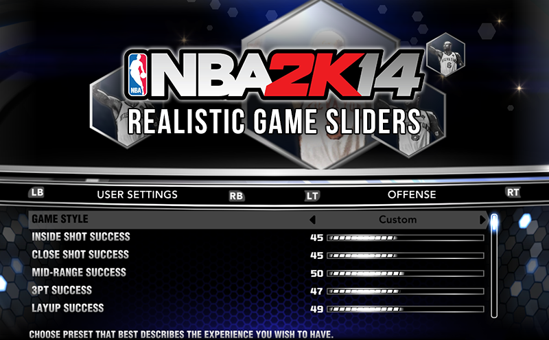 NBA 2K14 Realistic Gameplay Sliders