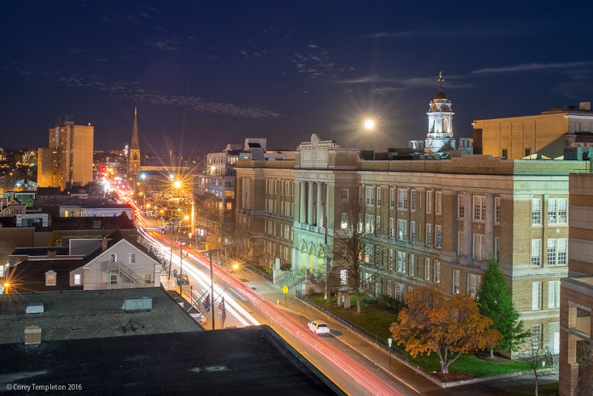 Portland, Maine USA November 2016 photo by Corey Templeton of the super moon rising over Cumberland Avenue and downtown Portland.