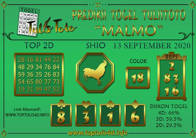 Prediksi Togel MALMO TULISTOTO 13 SEPTEMBER 2020