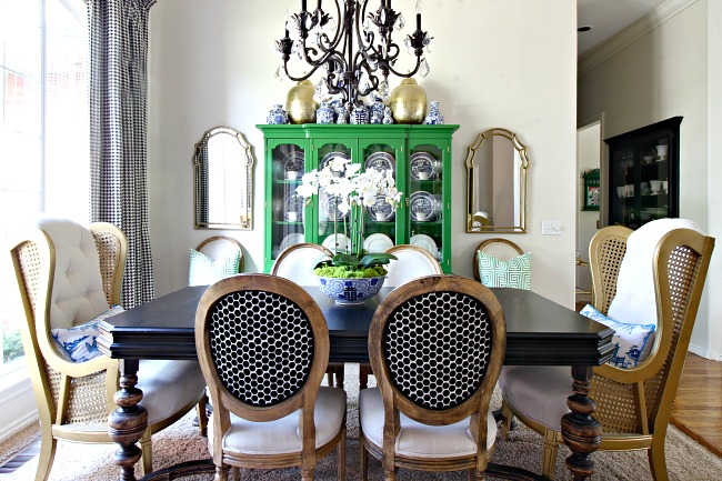green china cabinet, blue and white accessories, dining room