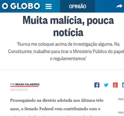 Globo dá destaque a Renan e sua lei contra a Lava jato