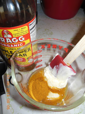 Apple cider vinegar goes into the curry dressing for Broccoli Salad with Curry.