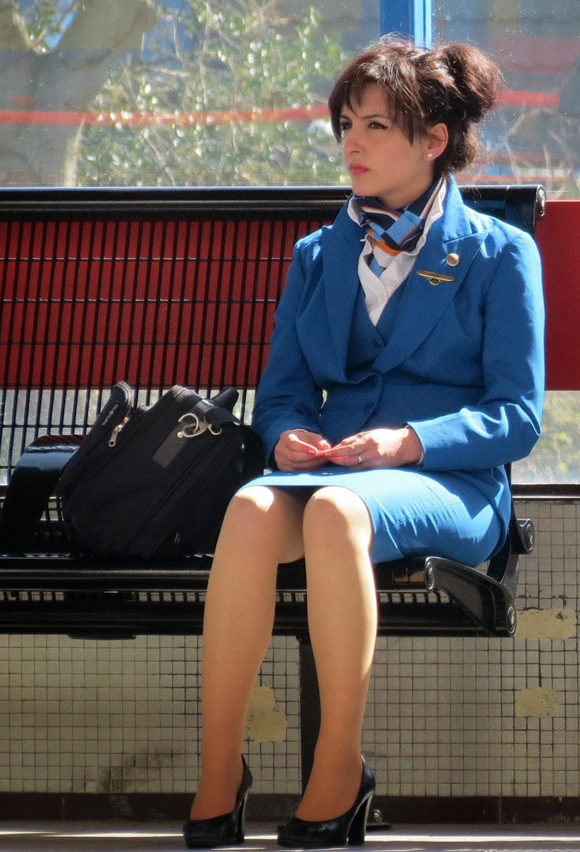 Stewardess in pantyhose
