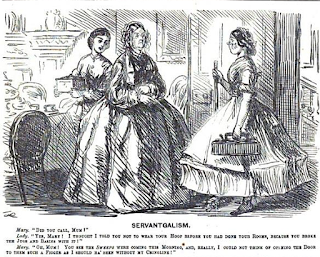 """Servantgalism"" hoopskirt satire from Punch, Nov 21, 1863"