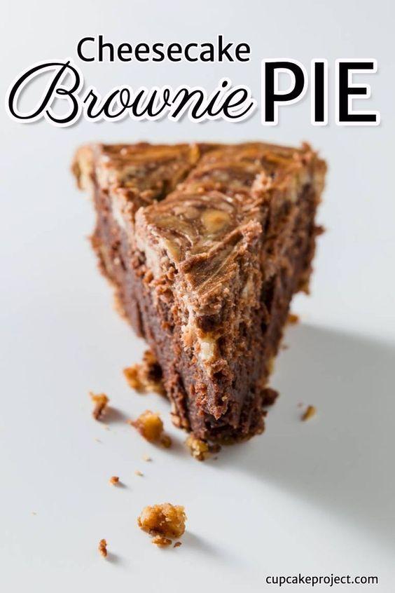 Cheesecake Brownie Pie with a Pretzel Crust