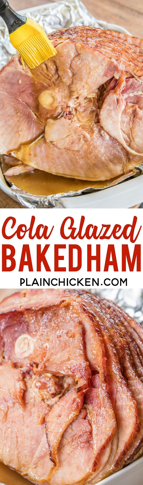 Cola Glazed Baked Ham - you'll never buy a fancy store-bought honey glazed ham again! Only 3 ingredients in the glaze - brown sugar, dijon mustard and cola. Baste the ham as it bakes to get maximum flavor. Don't forget to baste in-between the slices. This ham is always a hit! It is 1000% better than that fancy store bought ham. YUM! #ham #hamrecipe #bakedham #holidayham #christmasham