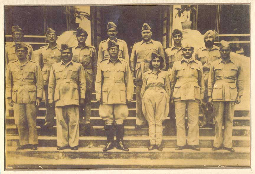 Netaji Subhas Chandra Bose and Members of the Azad Hind Fauj