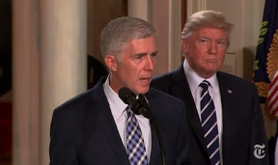 Judge Neil Gorsuch (left) and Donald Trump