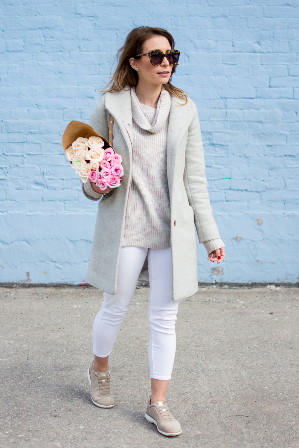 white jeans in winter grey coat neutral outfit petite style