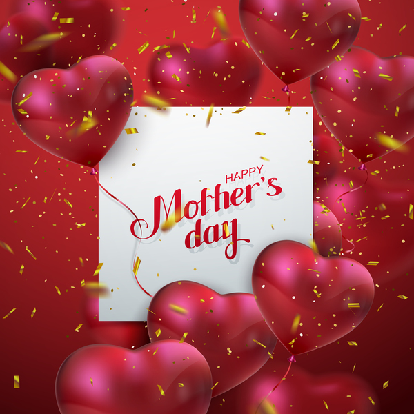 Mothers day card with heart shape balloons vector