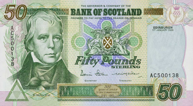 Bank of Scotland 50 Pounds banknote 2006 Sir Walter Scott