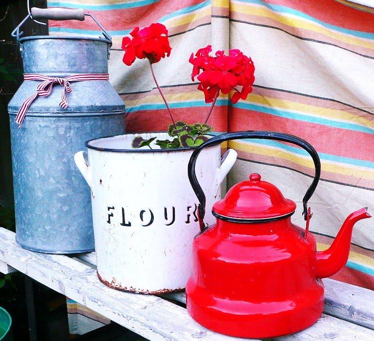 enamel flower pots