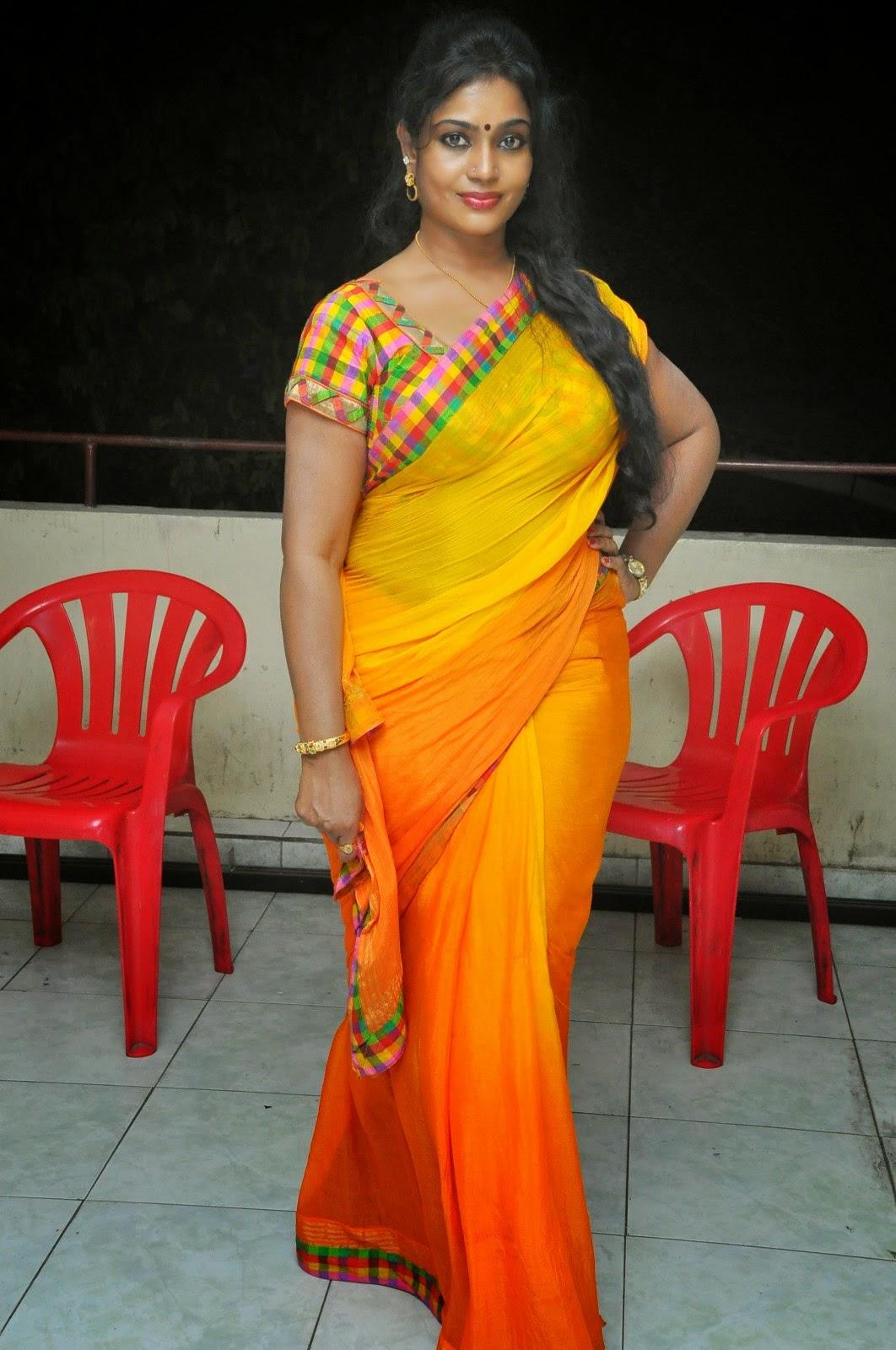 Jayavani Hot Photos In Yellow Saree At Andhamaina Maaya ...