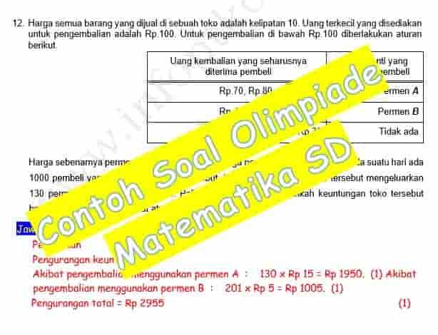 Kumpulan Contoh Soal Olimpiade Matematika SD Lengkap Dengan Kunci Jawabannya