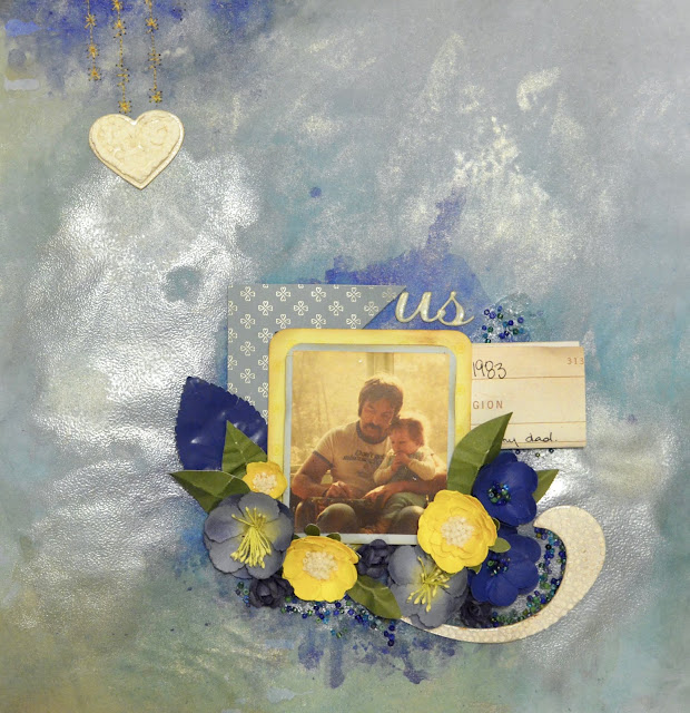 blue and yellow scrapbook page layout handmade flowers