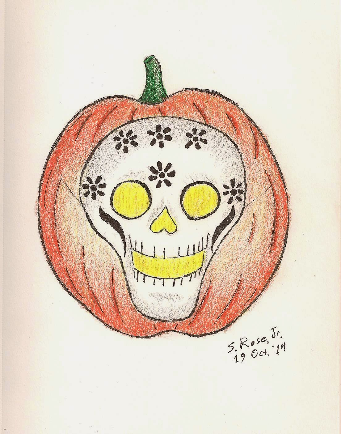 A jack-o'-lantern wearing a Day of the Dead skull mask.